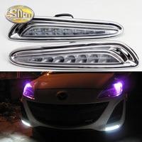 For Mazda 3 2010 2011 2012 2013 Daytime Running Light LED DRL fog lamp Driving lights Yellow Turn Signal Lamp