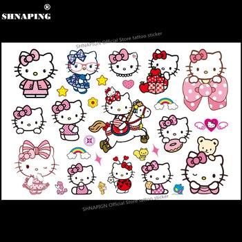 SHNAPIGN Hello cat временная татуировка для детей, мультфильм, наклейки, мода, Летний стиль, Эльза, водонепроницаемый, девочки, мальчики, горячие