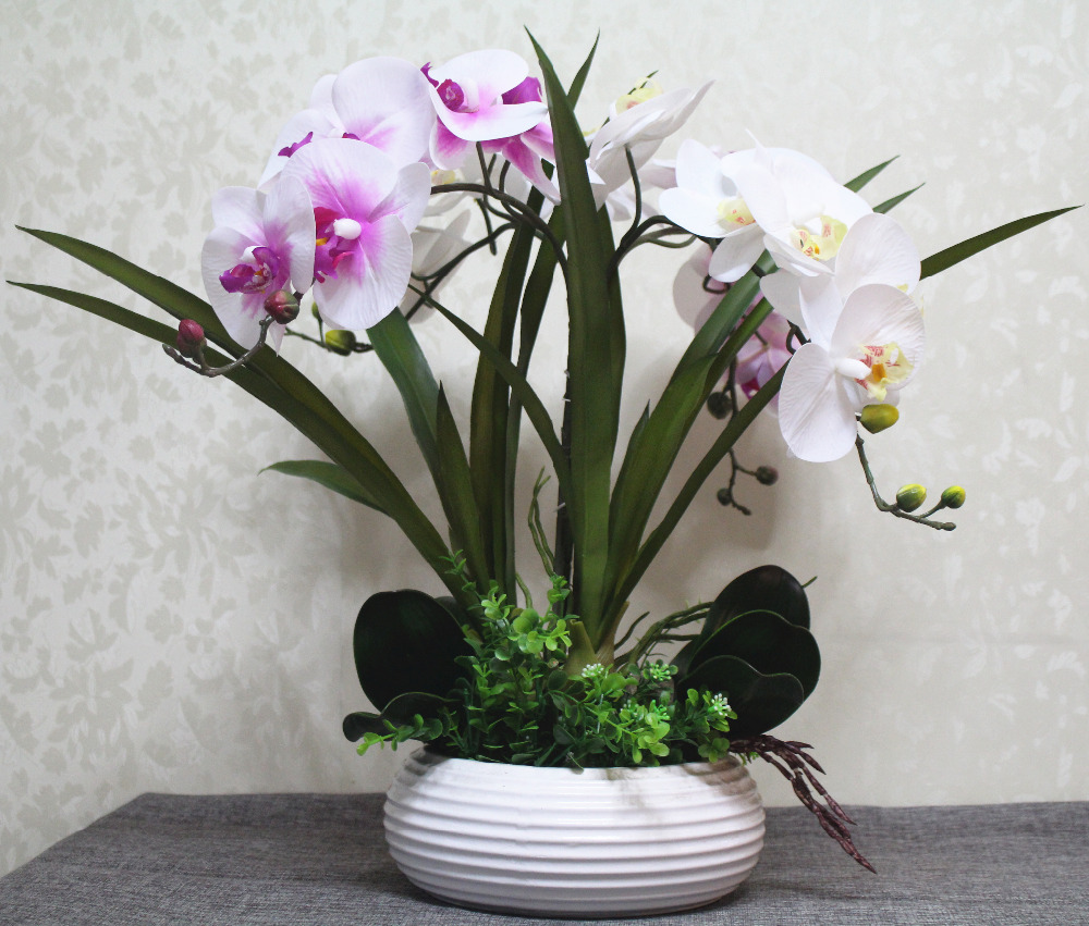 1 set artificial orchid flower arrangement bonsai flower