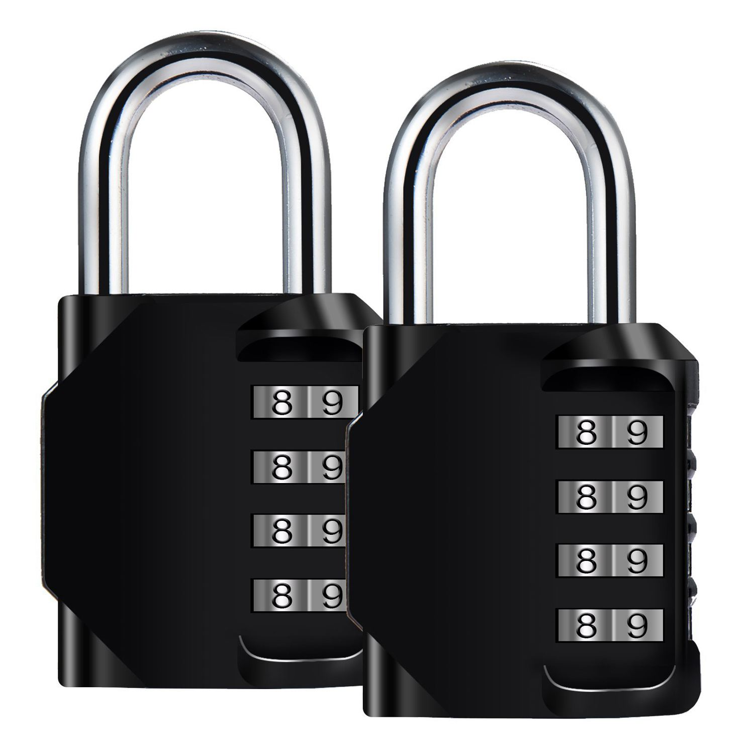 MOOL 2 Pack 4-Digit Waterproof and rustproof lock zincl alloy and steel clasp for school sports locker storage case - blackMOOL 2 Pack 4-Digit Waterproof and rustproof lock zincl alloy and steel clasp for school sports locker storage case - black