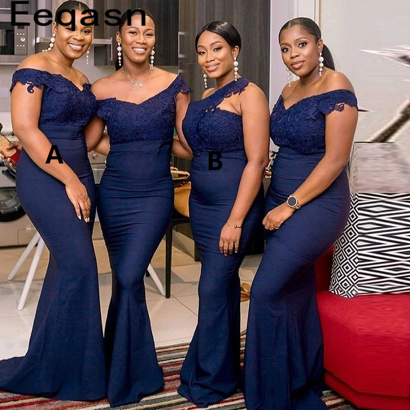 Navy Blue Long Bridesmaid Dresses 2020 V Neck Off The Shoulder Applique Lace Wedding Party Gowns Cheap Women Dress Plus Size
