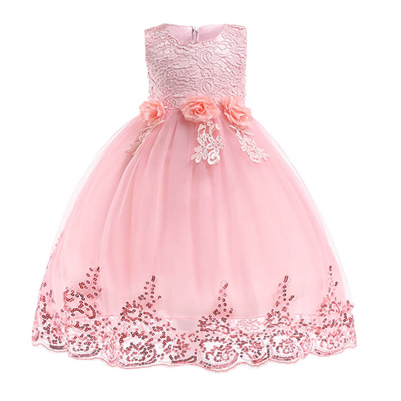 Retail Hot Sale Princess   Flower     Girl     Dresses   With Bow Glitter Shine   Girls   Birthday Summer   Dress   1272