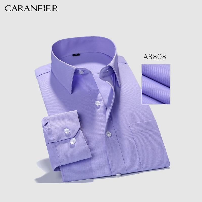 50e333e8c7 CARANFIER Mens Camisas de Vestido do Negócio Dos Homens de Sarja Slim Fit  Manga Comprida Pure Color Clássico Camisas Casual Camisa Social Masculina