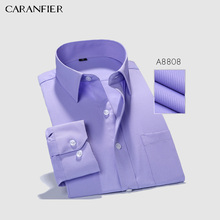 CARANFIER Mens Dress Shirts Business Men Twill Slim Fit Long Sleeve Pure Color C