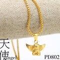 Ангел ребенка шарм золотой подвески 76 см длинные высокое качество мода звезда хип-хоп 24 К позолоченные цепи заявление ожерелье мужчины ювелирные изделия
