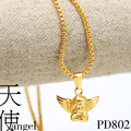 ANGEL BABY CHARM golden pendants 76cm Long High Quality Fashion Star Hiphop 24k Gold plated chain statement necklace men jewelry
