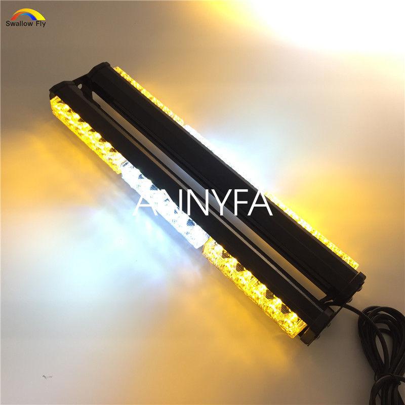 CYAN SOIL BAY 18 36 LED 108W Double Side Emergency Warning Beacon Strobe Light Bar Amber Yellow Lamp White