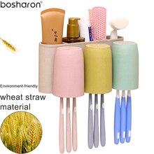 Kviešu salmu materiāla zobu birstes turētājs ar 3 krūzēm piestiprinātu zobu birstes turētāju Uzglabāšana WC tualete Vannas istabas piederumu komplekti