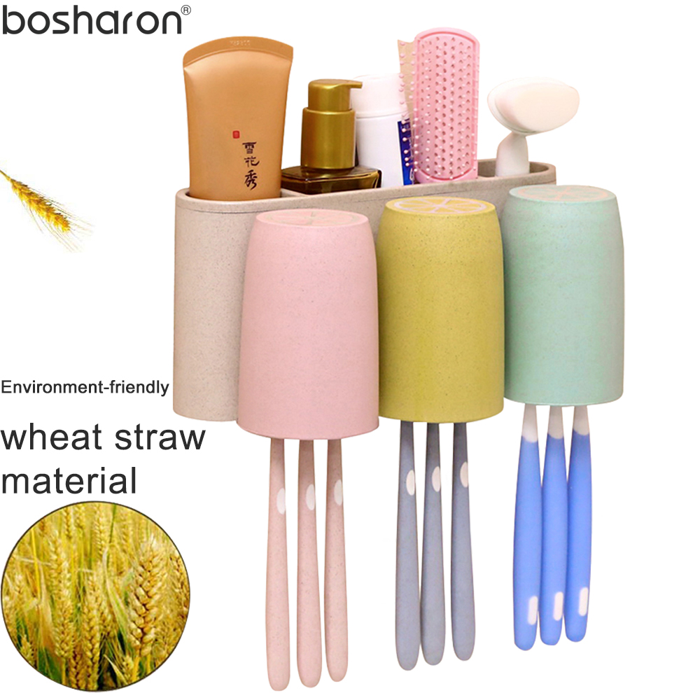 Wheat Straw Material Toothbrush Holder With 3 Cups Wall Mounted Tooth Brush Holders Storage WC Toilet Bathroom Accessories Sets image