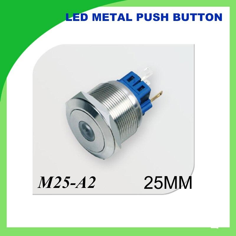 25mm LED Metal push button Switch Waterproof Stainless Steel Dot illuminated flat