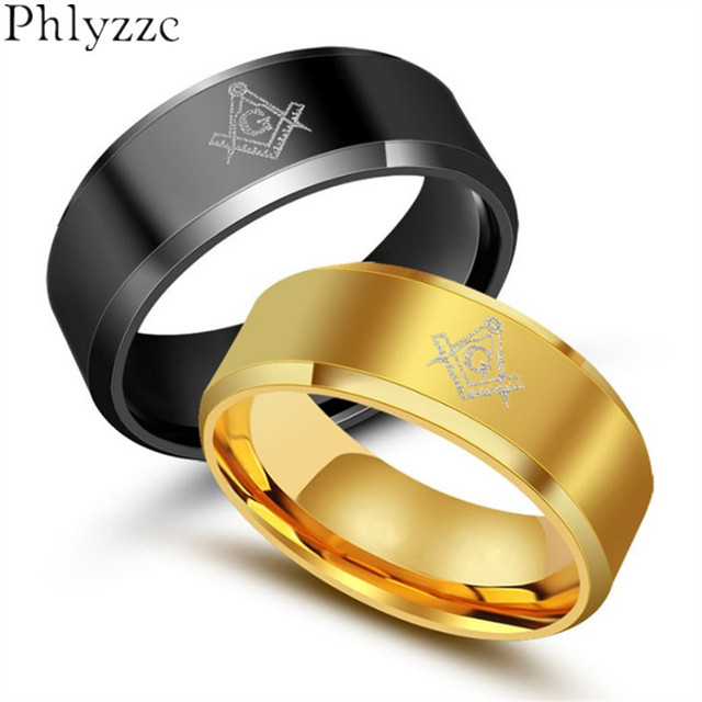 black men s masonic rings 8mm surgical steel gold color male ring