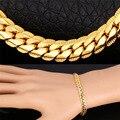 Banhado A ouro Pulseira Cadeia de Alta Qualidade Pulseiras de Ouro amarelo Chapeado 5 MM 21 CM Moda Homens Jóias H739