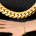Chapado En oro Pulsera Pulseras de Cadena de Oro amarillo Plateado de Alta Calidad 5 MM 21 CM Hombres Joyería H739