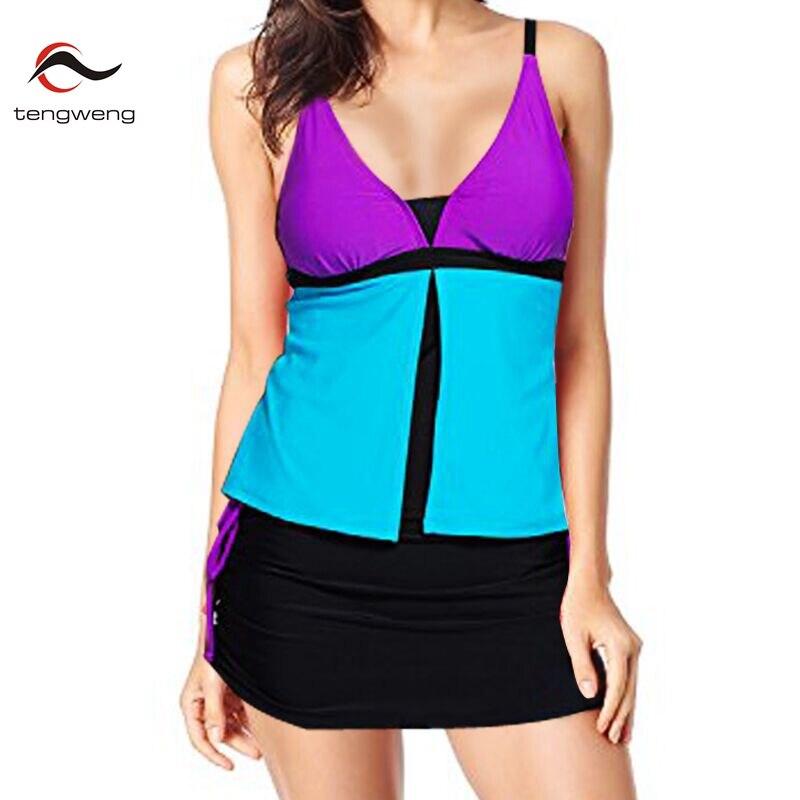 2018 Women Tankini Set Summer 2 Piece Colorblock Tankini Skort Push Up Swimsuit Sport Swimwear Plus Size Bathing Suit Beach XXL цена 2017