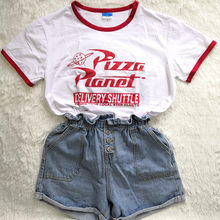19c9274d92 Hillbilly Funny Pizza Planet Humor Summer T shirt Red Edge Ladies Short  Sleeved Loose Plus Size Casual Top O-neck Hipster Tumblr