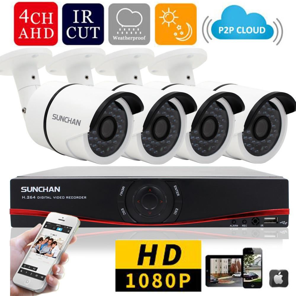 SUNCHAN New 4ch 1080P Full HD DVR 4PCS HD 2 0MP 1080P Outdoor Security font b