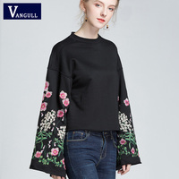 Vangull Women Embroidery floral pattern black sweatshirts long wide sleeve Spring Autumn pullover vintage loose casual tops