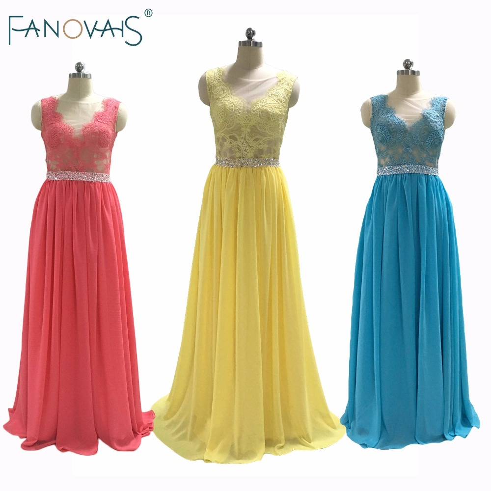 Yellow Lace Bridesmaid Dresses with Beaded Sash Chiffon Long Bridesmaid Dress Maid of Honor Gowns Wedding Guest Dresses 2019