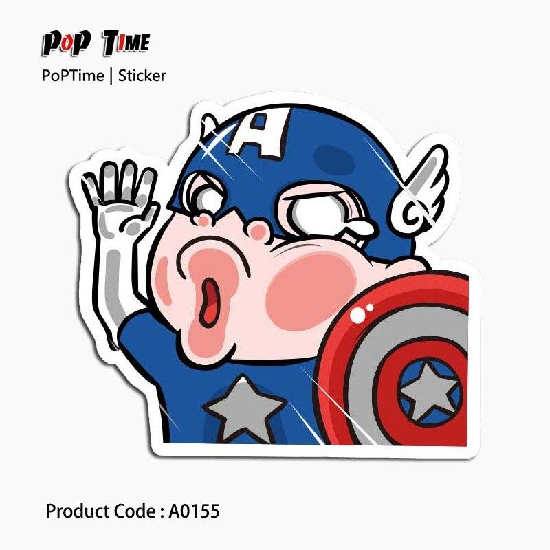 A0155 Captain America street Emoji Stickers For Children Anime Funny Cartoon Home Decor Wall trunk aviation Skateboard Kids Toys