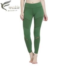Free Skin Mesh Ladies Yoga Pants New Green High Waist Moto Leggings Women Compression Tights Breathable Sport Legging