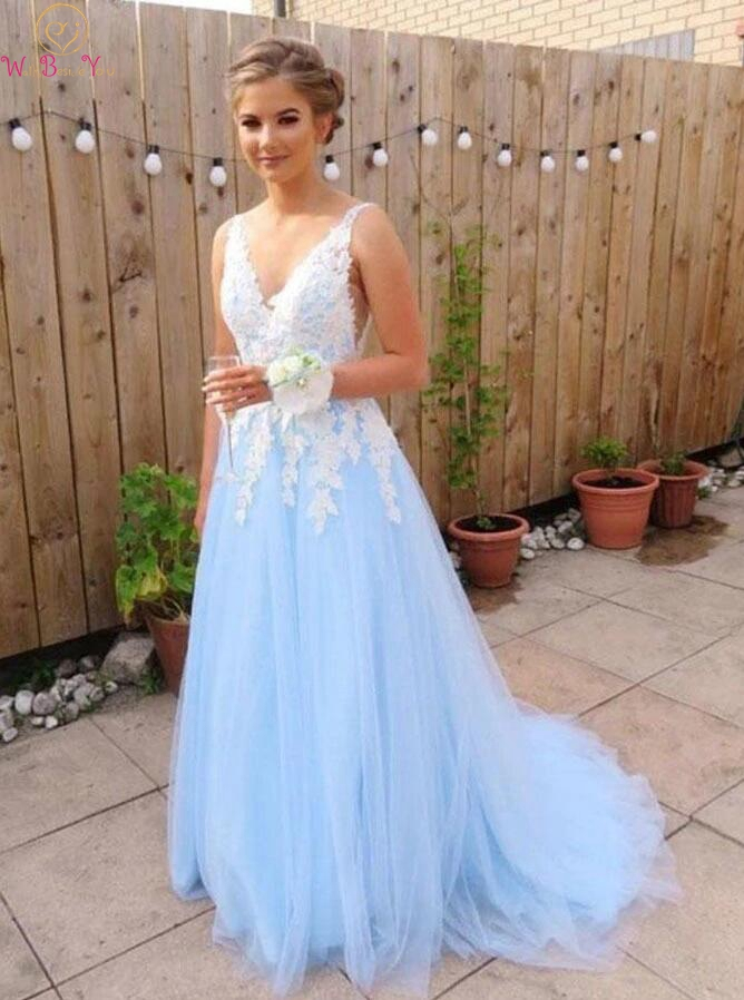 Baby Blue Prom Dress Tulle Ivory Lace Applique 2019 Long V Neck Sleeveless A Line Sweep Train Evening Party Gown Walk Beside You