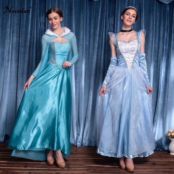 Adult Halloween Cinderella Elsa Princess Dress Princess Elsa Costume Snow Queen Princess Cosplay Halloween Party Costume Women