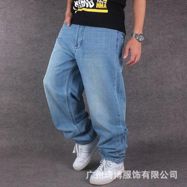 15f07d47f73 Men Wide Leg Denim Pants Hip Hop light blue Casual jean trousers Baggy jeans  for Rapper Skateboard Relaxed Jean joggers 71808