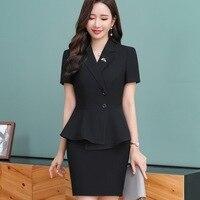 8e8d51dc09 Female Skirt Suit Short Sleeve Slim Waist Ruffle Blazer Jacket Skirt 2  Pieces Business Skirt Suits. Feminino Terno de Saia ...