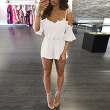 Lace Beach Playsuit V neck Off Shoulder Flare Short Sleeve Overalls For Women Loose Romper Combishort Femme Ete wy*