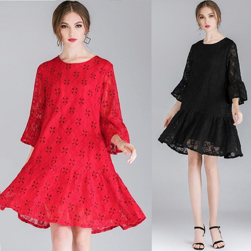2019New Design Spring Fashion Ladies elegant lace dress flare sleeve Ruffled hem party dress Casual vestido