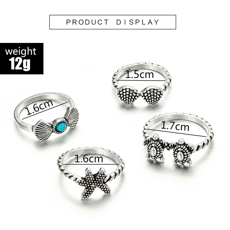 HuaTang Bohemian Antique Silver Ring Geometric Elephant Flower Green Rhinestone Knuckle Rings Midi Finger Anel Rings Jewelry 98