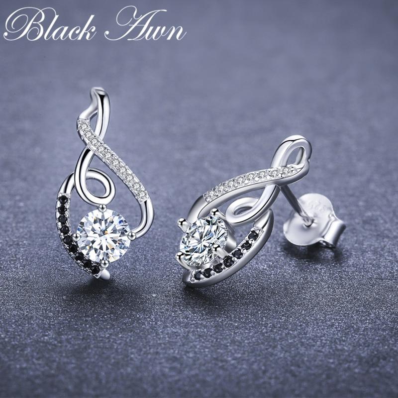 [black Awn] Genuine 925 Sterling Silver Female Earring Fine Jewelry Vintage Water-drop Wedding Stud Earrings For Women T006 #3