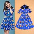 Vestido de verano 2017 Nueva Moda de Nueva Calle Chinita Blanco/Negro/azul Fuera del Hombro Del Cordón Del Remiendo Floral Print Mini Vestido