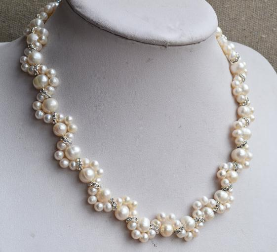 Handmade Real Pearl Jewellery,16 inches 5-8mm White Freshwater Pearl Necklace,Flower Girl's Rhinetone Pearl Necklace xishixiu 5 16 inches