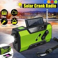 Solar Digital Crank Emergency AM/FM WB Weather Portable Radio Flashlight Solar Power Bank 2000Mah Rechargeable