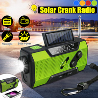 Solar Digital Crank Emergency AM/FM WB Weather Portable Radio Flashlight Solar Power Bank 2000Mah Rechargeable