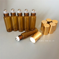 20pcs Lot Amber Glass Bottle In Refillable Rollon Bottles With Gold Cap High Quality 5ml Roller