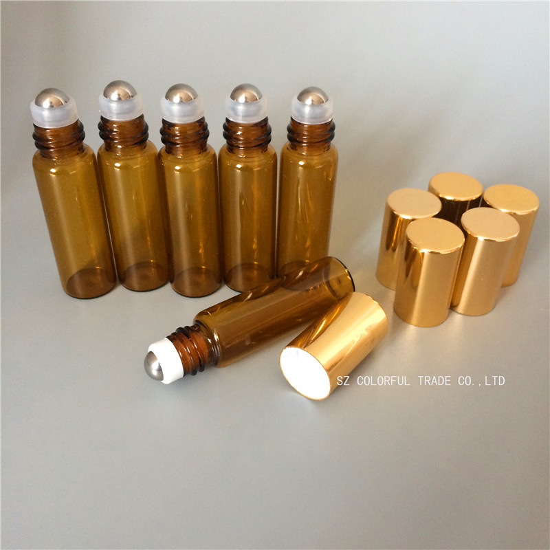 20pcs/lot Amber Glass Bottle In Refillable Rollon Bottles With Gold Cap  High Quality 5ml Roller Metal Ball For Essential Oils free shipping 60ml 20 50pcs lot transparent pet medicine refillable bottle capsules liquid packing bottle with white screw cap