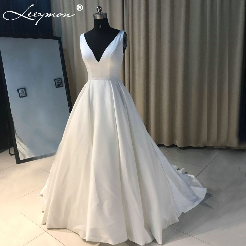 Sexy ivory v neck satin wedding dress simple robe de for V neck satin wedding dress