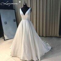 Sexy Ivory V Neck Satin Wedding Dress Simple Robe De Mariage Vestido De Noiva Royal Train Irish Brides Dresses 2018