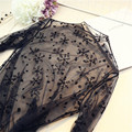 Spring Summer New T Shirt Women Sexy Lace Mesh Top 2017 Black Tee Shirt Long-Sleeved Crop Tops Poleras De Mujer Tshirt C3001