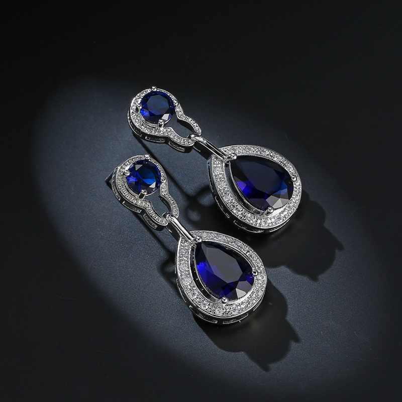 OMHXZJ Großhandel Europäischen Mode Frau Mädchen Party Hochzeit Geschenk Zirkon 925 Sterling Silber Ohrringe + Halskette Schmuck Set JE18