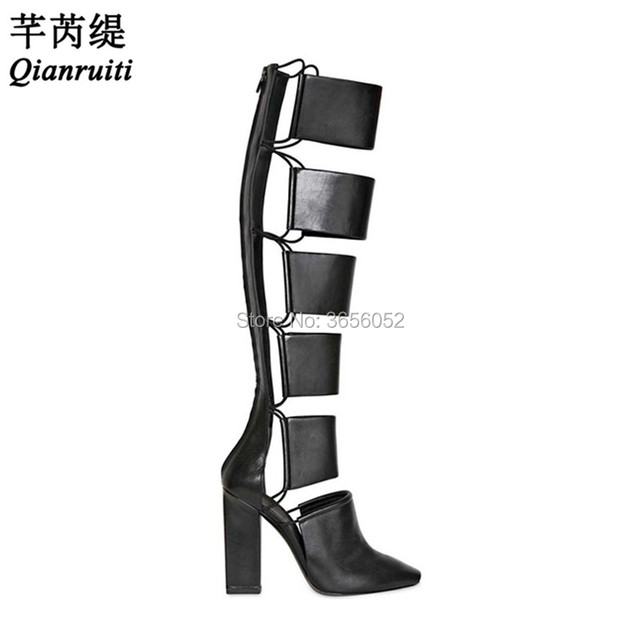 4bb779bba91 Qianruiti Black Leather Ladies Shoes Cut Outs Knee High Bootie Long Gladiator  Sandals Women Block Heel Summer Boots Plus Size 43