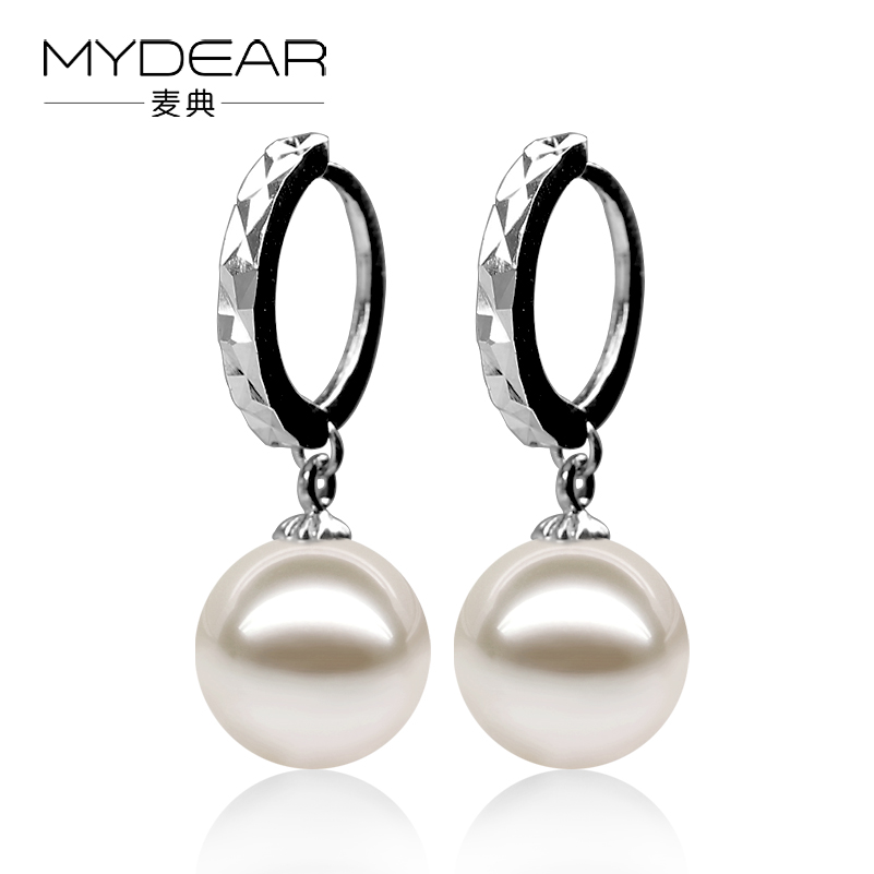 MYDEAR Natural Pearls Earrings Fancy Indian Real Sterling Silver 925 Earrings Fine 9-9.5mm White Glossy Freshwater Pearl Jewelry daimi 9 9 5mm natural white freshwater pearl earrings 925 silver pearl big earrings luxury style for women christmas gifts