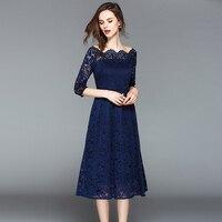 Однотонное синее женское кружевное вечернее платье с открытой спиной женское элегантное ТРАПЕЦИЕВИДНОЕ ПЛАТЬЕ с вырезом женское кружевно...
