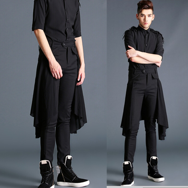 19a561bb5 Men Fashion Show Pant Casual Black Boots Long Trousers Male Splice Skirt  Pant Punk Rock Style Stage Costumes-in Casual Pants from Men's Clothing ...