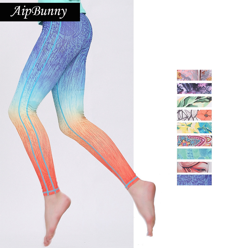 Aipbunny Gradient Printed Women Yoga Pants Quick Drying Fitness Sport Leggings Tights Slim Running Sportswear Sports Pants