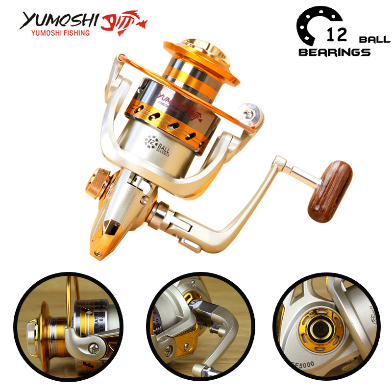 Yumoshi 500 - 9000 12BB Carrete de pesca carrete de pesca con mosca Alimentador de carpa Carretes de pesca giratorios Carretilha de pesca Moulinet shimano