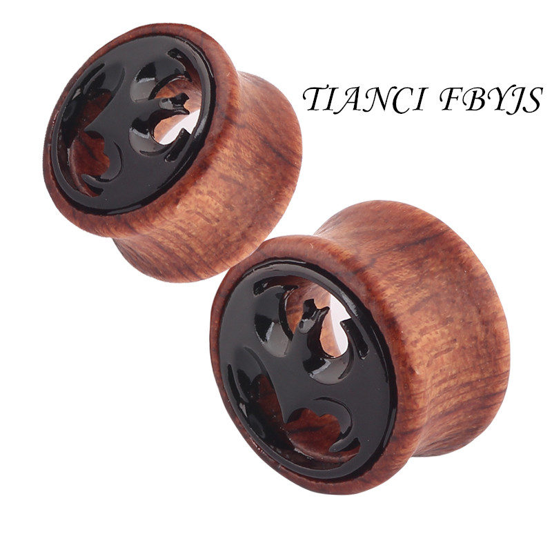 New body jewelry Bat hollow wooden ear tunnel wholesales 8-20mm 42pcs body jewelry ear plug earring gagues expander piercing