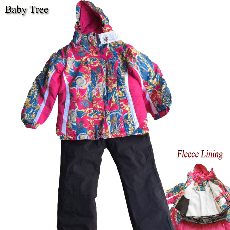 Teen Girls Ski Suits 8-16Y Brand Kids Ski Suit 2pcs Floral Print Fleece Lining Waterproof Jackets + Overalls Children Snowsuit